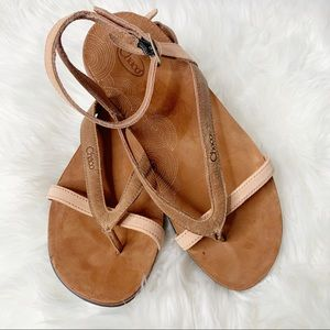 Chaco Sofia Toasted Brown Leather Strappy Sandals